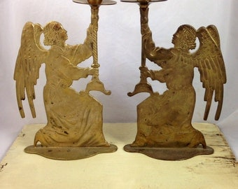 Set of Two Brass Candle Stick Holders, Angels Holding Candle Sticks