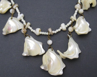 Long Mother of Pearl Charm Necklace Vintage Shell Jewelry N6426