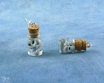 Alien Fetus Skull Specimen Jar Earrings, Handmade Biology Jewelry