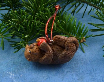 Xmas Sea Otter and Red Ball Ornament , Handmade Christmas Decoration