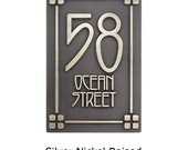 2 Number Craftsman Mission Style Bungalow Address Plaque House Numbers 4on4 corners and LINES Vertical 8x12 inches