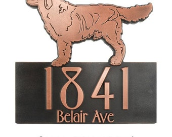 "Retriever Lab Dog Address Plaque, Canine Home Numbers, 16"" W x 15"" H Made in USA"