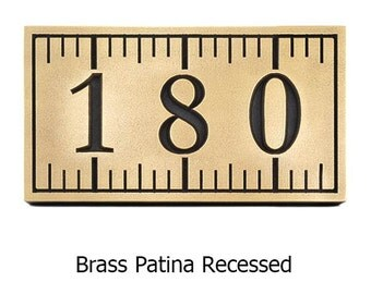 Ruler Address Plaque with 3 Numbers 13x7 Inches Made In The USA