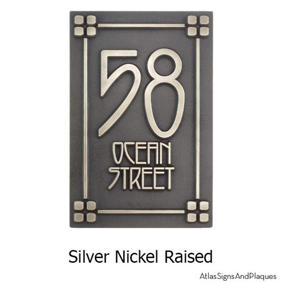 Mission style house number signs