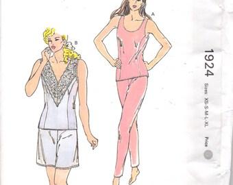 Kwik Sew 1924 1980s Misses Princess Seam Camisole Culottes Pants Liner  Womens Vintage Sewing Pattern Size xs s m l xl  Bust 31 - 45 UNCUT