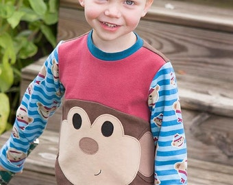Mac's Monster T-shirt PDF Sewing Pattern Sizes 1/2- 16 Unisex