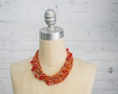 vintage multi color confetti glass bead necklace / raver choker / beaded choker / chunky statement necklace red yellow orange