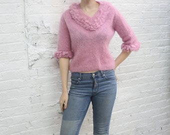 vintage 60s mohair sweater / 1960s v neck pink mohair sweater / mauve blush fuzzy chunky sweater