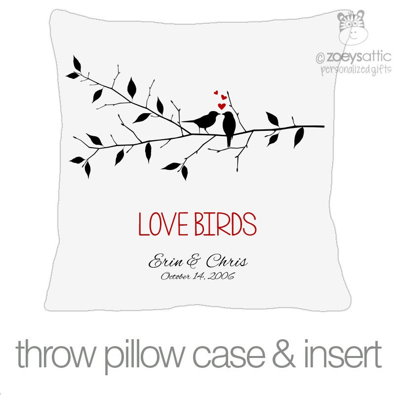 Love birds on branch custom throw pillow with by zoeysattic