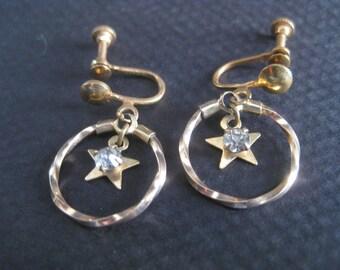 Vintage Brass Star Crystal Rhinestone Earrings Screwback