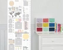 Safari Nursery Growth Chart, Scrapbook growth chart, Safari // Custom match colors to any nursery / room, 13x40 canvas // N-C05 AA2
