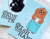 Pomeranian Bathroom Prints - 5x7 Eco-friendly Pair