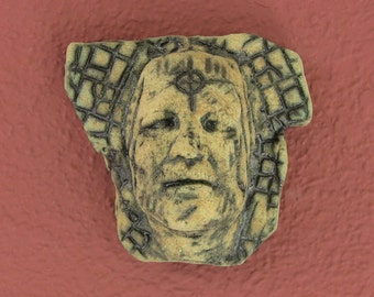 Ceramic Wall Mask, Small mask, Archaic Primitive Style, Wall Art, Interior Design, Steam Punk, Surreal
