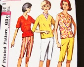 1960s Shorts Pattern Misses size 16 Mad Men Blouse with tie Belt, Capri Pants, Jamaica Shorts Womens Vintage Sewing Pattern
