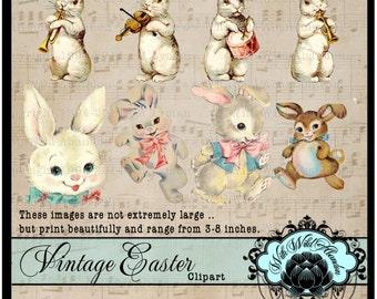 Vintage Easter Clipart, Printable Vintage Easter Bunny, Easter Clipart, Embellishments, Clipart, Retro Easter Postcards