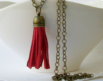 ON SALE Rose Faux Leather Brass Tassel Necklace