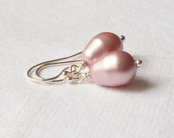 Mauve Rose Pearl Earrings Wedding Jewelry Bridesmaid Gift, Gifts under 20
