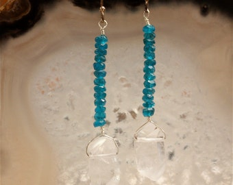Quartz Crystal Blue Apatite Dangle Earrings