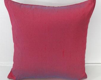 Wild rose dupioni silk pillow. Decorative throw pillow cover. Luxury silk  pillow.  16 inch custom  made