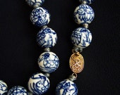 RESERVED: OOAK Blue White Chinese Bead Necklace Asian Hand Painted Necklace Unique 30s Duck Motif Love Life Rare Feng Shui FavoriteBlings