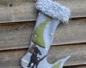 Retriever in the Woods Felted Cashmere Christmas Stocking