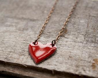 Small heart necklace - love jewelry - enamel heart necklace -  layering necklace - red heart - heart pendant - sweetheart gift