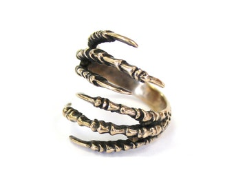 Double Raven Claw Talon Ring Bronze Raven Claw Ring Double Bird Talon Claw Ring 422