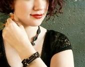 Black in Black -- Black Matte Glass and Freshwater Pearl Bracelet