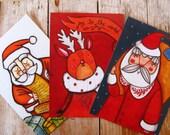 SALE Christmas postcard lot, Santa Claus and reindeer mix & match postcard set