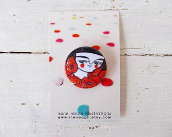 Red poppies pin, illustrated button girl brooch