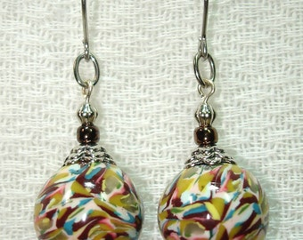 Wearable Art Handmade Polymer Clay Bead Earrings - Bead Salad in Silver - OOAK - Free Shipping within the U.S.