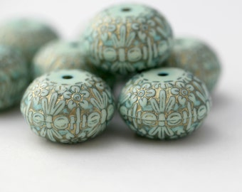 Carved Etched Mint Green Gold Acrylic Saucer Beads 21mm (8)