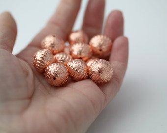 Acrylic Beads Copper Ornate Etched Saucer Beads 15mm (12)
