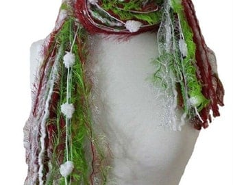 The Grinch - Fringe Scarf Knotted Scarves - Lime, Deep Red, Silver, White