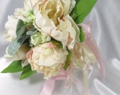 Blush Pink Peach, Ivory, Green Peony Bud Small Bridal, Maid of Honor or Bridesmaid Bouquet - Old Fashioned Vintage Styling - ready to ship