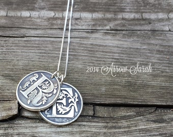Personalized Double Large Initial Pendant and Necklace made from Recylced, Reclaimed fine silver .999 Great Gift!