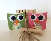 Owl Art Clips - Pink and Green- eco-friendly by Maple Shade Kids