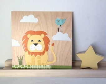 Lion Collage, Kids Wall Art, Jungle Theme, eco friendly