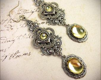 Victorian Earrings, Yellow Earrings, Renaissance Jewelry, Tudor, Medieval Jewelry, Ren Faire Wedding, Bridesmaid, SCA, Avalon