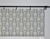 Arrow Window Valance Curtain - Gray White Archery - Cool Grey Tribal Tribe  - Sizes available :  52x16 inches or 52x18 inches