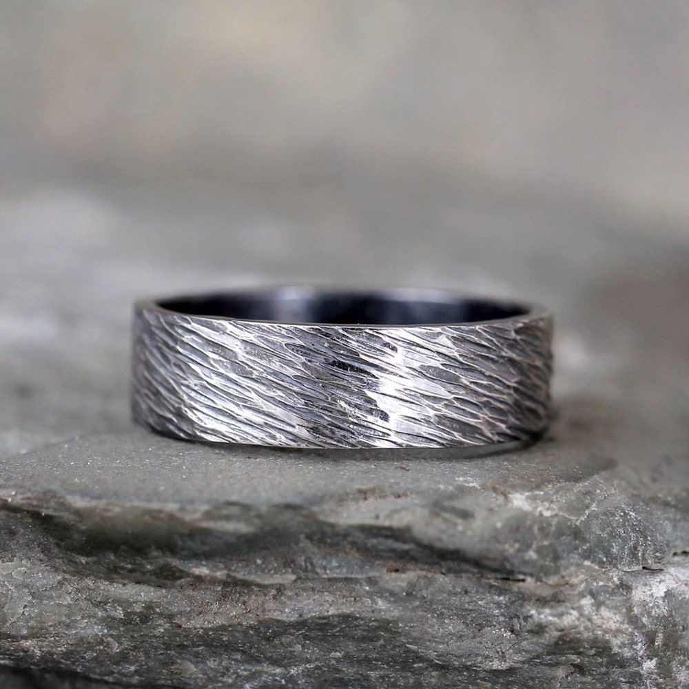 Hammered Finish Bands: Sterling Silver Hammered Finish Wedding Band Oxidized Patina