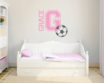 Personalized wall decals, Sports decals, Soccer stickers, Name decals, Girls room decor, Kids wall stickers, Sports wall decals DB396