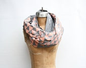 Mountains and Pine - hand printed, organic infinity scarf