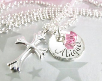 Personalized Hand Stamped First Communion Necklace in Sterling Silver with Flared Cross and Birthstone of Swarovski Crystal