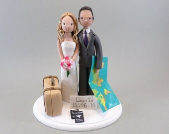 Cake Topper Personalized Travel Theme Wedding