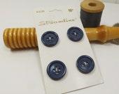 Navy Blue Buttons, Vintage Streamline 5/8 inch 16mm Small Dark Blue Buttons, Original Button Card, Thailand