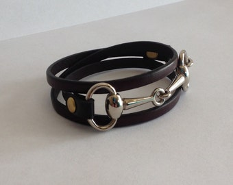 Leather Wrap Snaffle Horse Bit bracelet with Mixed Metals
