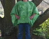 "Bright Green Marble Tie Dye Fleece Poncho in a ""Make My Day"" Style"