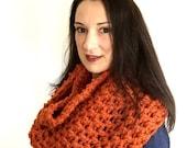 orange crochet scarf, orange crochet cowl, crochet infinity scarf, infinity wool scarf, crochet chunky scarf, crochet endless scarf
