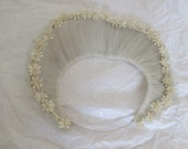 Vintage Silk Tulle Wedding Halo / Veil with Wax Flowers - 1940's Millinery, bridal